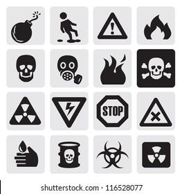 vector black danger icons set on gray