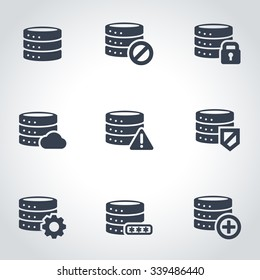 Vector black database icon set.