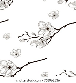 Vector Black Decorative Seamless Background Pattern with Drawn Flowers, Cherry Blossom. Hand Drawn. Vector Illustration with Pattern Swatch