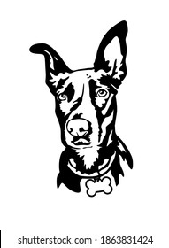 Vector black dog head isolate. Face silhouette drawing illustration. Print. Sign. Icon. Plotter cutting. Laser cut. Wall vinyl sticker decal. Pet. Doberman. Best friend concept. Embroidery. Home Decor.