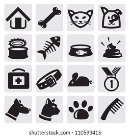 vector black dogs and cats set on gray