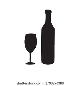Vector black doodle sketch wine bottle and glass silhouette isolated on white background