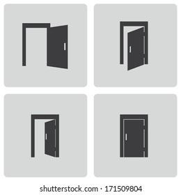 Vector black door icons set on white background