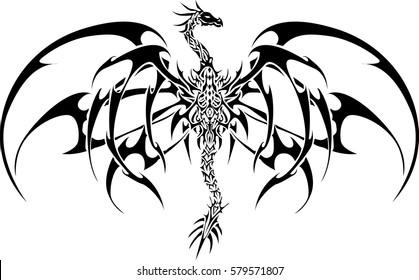 Vector Black Dragon Tattoo