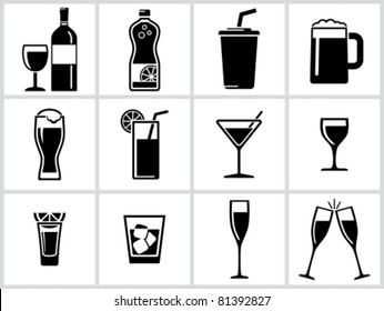 Vector black drinks & beverages icons set. All white areas are cut away from icons and black areas merged.