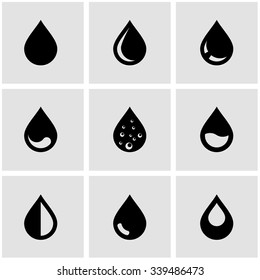 Vector black drop icon set.