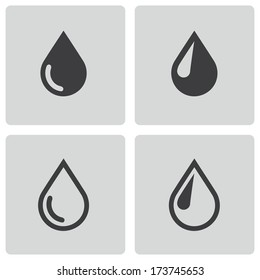 Vector black drop icons set on white background
