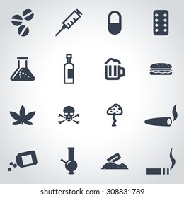 Vector black drugs  icon set on grey background