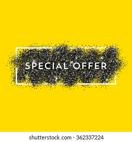 Vector black dust with white vector frame on yellow background. Trendy abstract background ready for your design. Special Offer label.