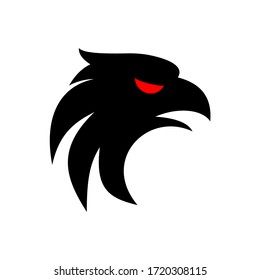 vector black black eagle with red eyes for the game logo