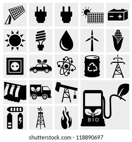 Vector black eco energy icons set on gray. Solar and wind energy