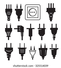 vector black electric plug icon on white background