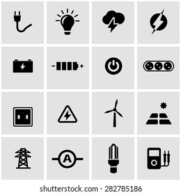 Vector black electricity icon set on grey background