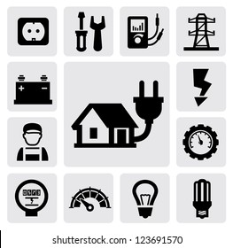 vector black electricity icons set on gray
