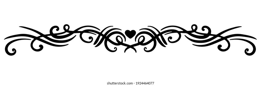 Vector black element with a thin line. Ornament with a heart and swirl for decoration of festive products, web, menus, labels.
