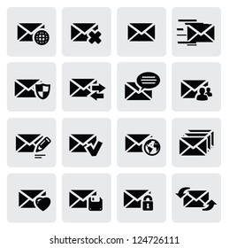 vector black email icons set on gray