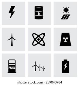 Vector black energetics icon set on grey background.