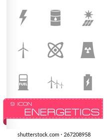 Vector black energetics icon set on white background.