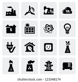 vector black energy icon set on gray