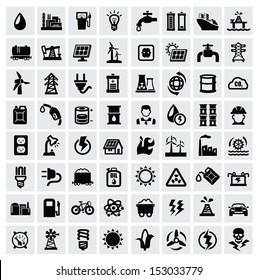 vector black energy icons set on gray