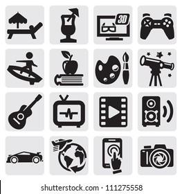 vector black entertainment icons set on gray