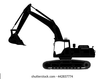 Vector black excavator icon, on white background. Isolated silhouette