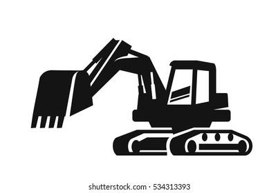 vector black Excavator icon on white background
