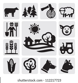 vector black farm icon set on gray