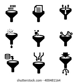 Vector black filter data icon set. Funnel sign. Data tunnel, analysis concept.