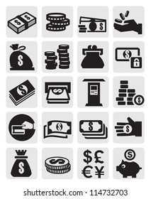 vector black finance icons set on gray