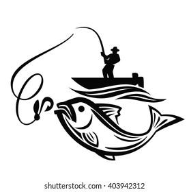 vector black fisherman icon on white background
