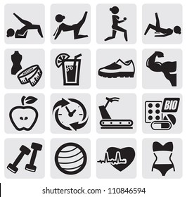 vector black fitness and sport icon set