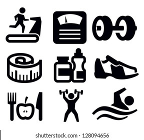 vector black fitness and sport icon set on white