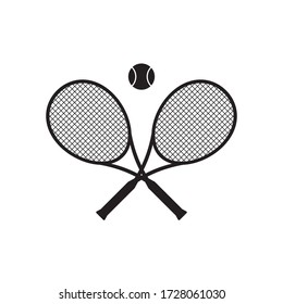 Vector black flat cartoon crossed tennis racket and ball isolated on white background