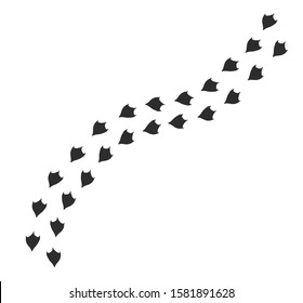 Vector black flat duck or goose bird foot print path steps isolated on white background