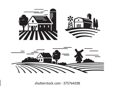 vector black flat farm icons on white