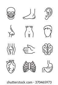vector black flat medical icons on white