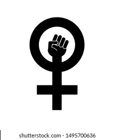 Vector black flat woman power symbol isolated on white background