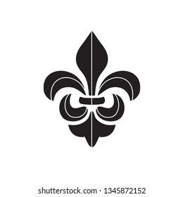 Vector black Fleur de lis ornament icon on white background. Royal heraldic symbol. Vector illustration
