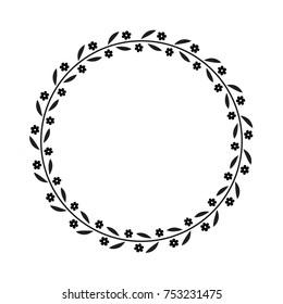Vector black flower wreath. Floral frame for greeting, invitation cards design.