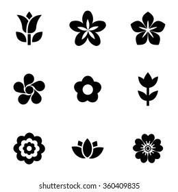 Vector black flowers icon set.