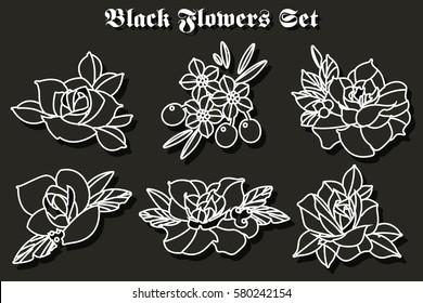 Vector Black Flowers Stickers Set Traditional Tattoo Designs