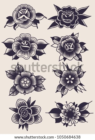 Vector Black Flowers Traditional Tattoo Designs Stock Vector
