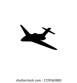 Vector black flying airplane plane silhouette isolated on white background