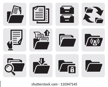 vector black folder icons set on gray