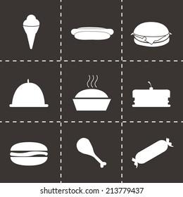 Vector black food icons set on black background