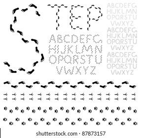 Vector black footprints alphabet on a white background