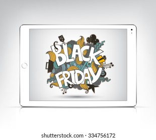 Vector black friday banner showing in the screen of white tablet pc, ipad. Poster, advertising