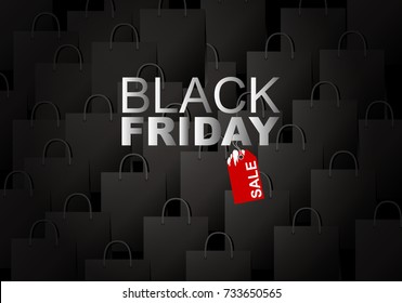 Vector black friday sale on shopping bag background