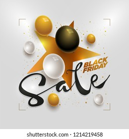 Vector Black Friday Sale poster design with star shape and 3d white, black and gold balloons. Elements are layered separately in vector file.